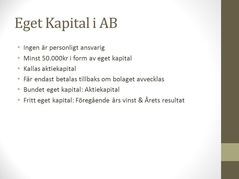 Eget Kapital i AB Ingen är personligt ansvarig