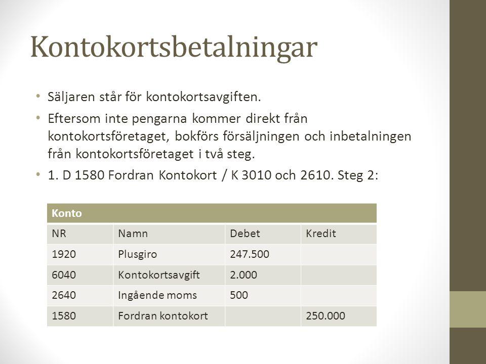 Kontokortsbetalningar