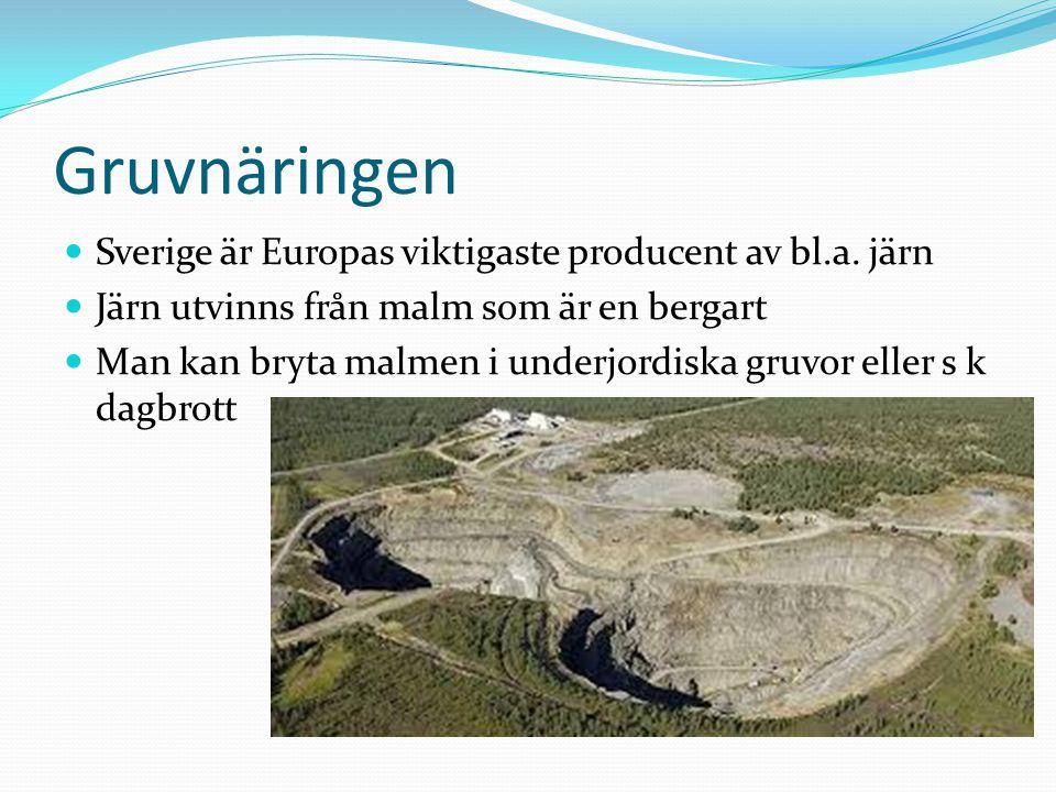Gruvnäringen Sverige är Europas viktigaste producent av bl.a. järn