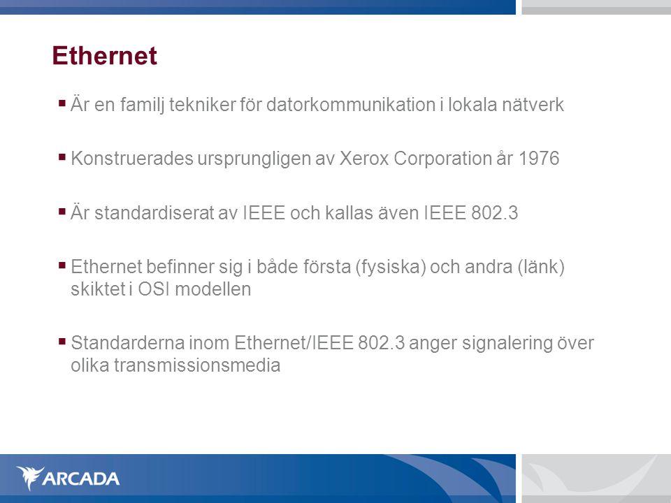 Ethernet Är en familj tekniker för datorkommunikation i lokala nätverk