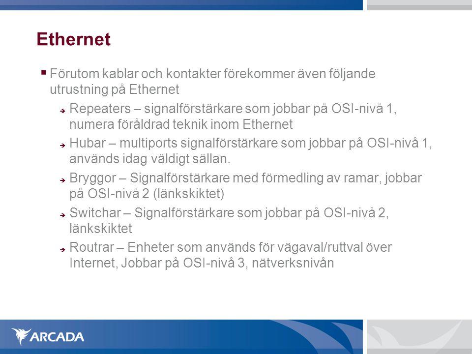 Ethernet Förutom kablar och kontakter förekommer även följande utrustning på Ethernet.