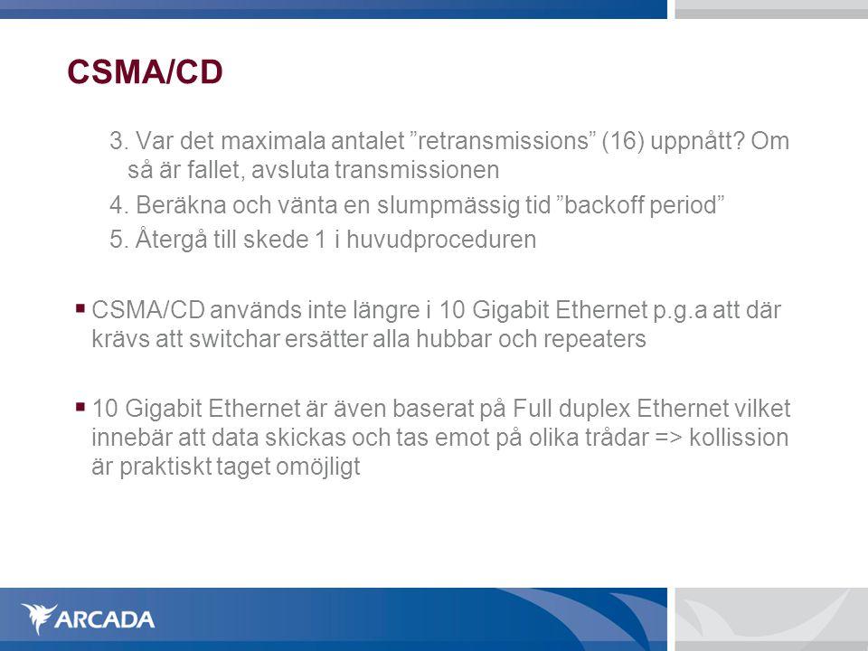 CSMA/CD 3. Var det maximala antalet retransmissions (16) uppnått Om så är fallet, avsluta transmissionen.