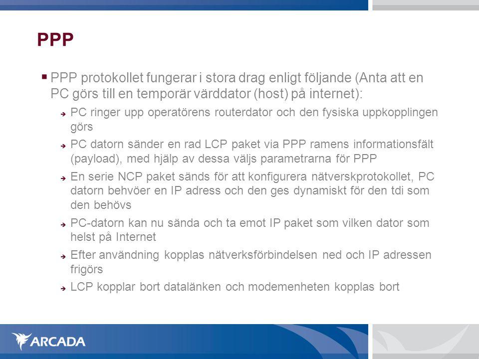 PPP PPP protokollet fungerar i stora drag enligt följande (Anta att en PC görs till en temporär värddator (host) på internet):
