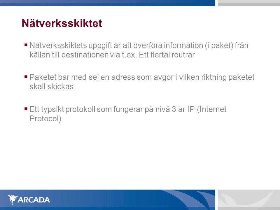 Nätverksskiktet Nätverksskiktets uppgift är att överföra information (i paket) från källan till destinationen via t.ex. Ett flertal routrar.