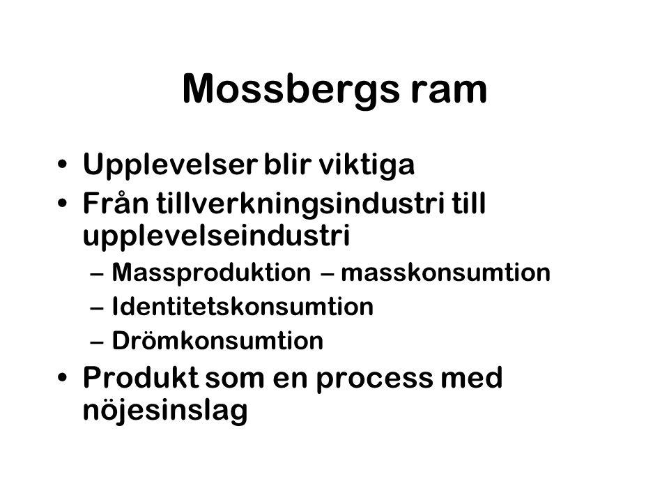 Mossbergs ram Upplevelser blir viktiga