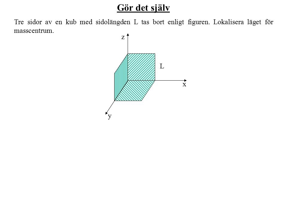 Gör det själv Tre sidor av en kub med sidolängden L tas bort enligt figuren. Lokalisera läget för masscentrum.
