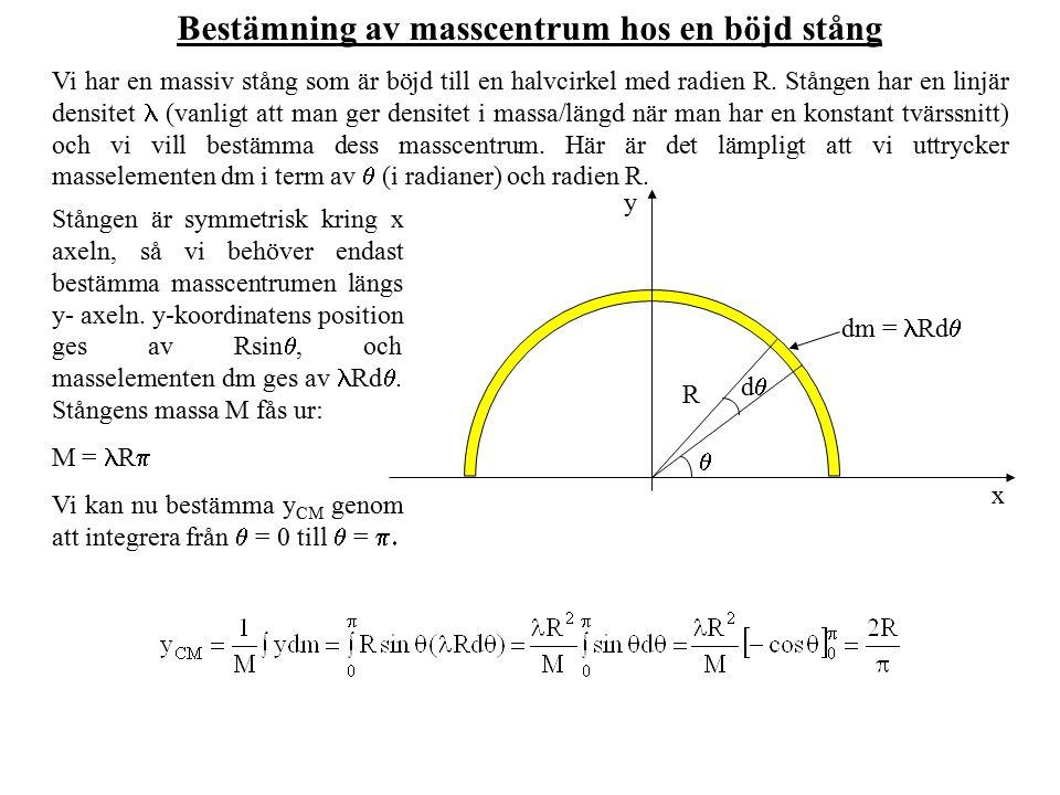 Bestämning av masscentrum hos en böjd stång