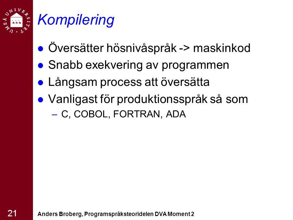 Kompilering Översätter hösnivåspråk -> maskinkod