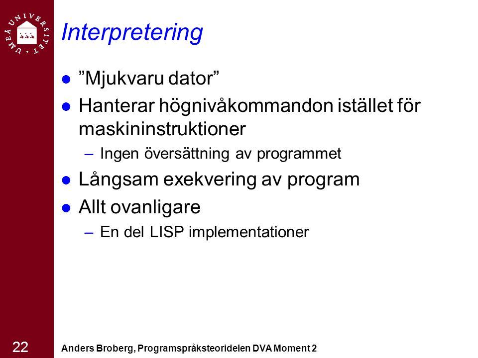 Interpretering Mjukvaru dator