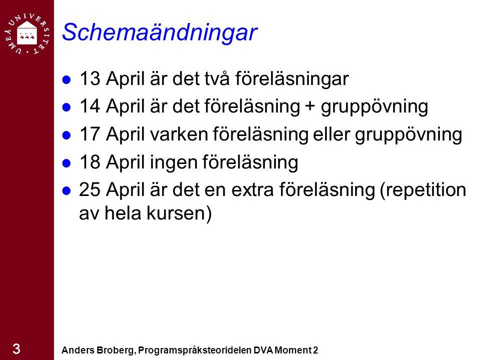 Schemaändningar 13 April är det två föreläsningar