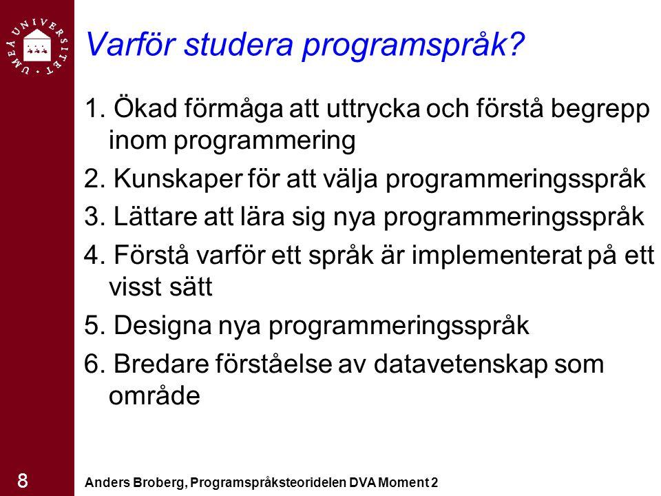 Varför studera programspråk