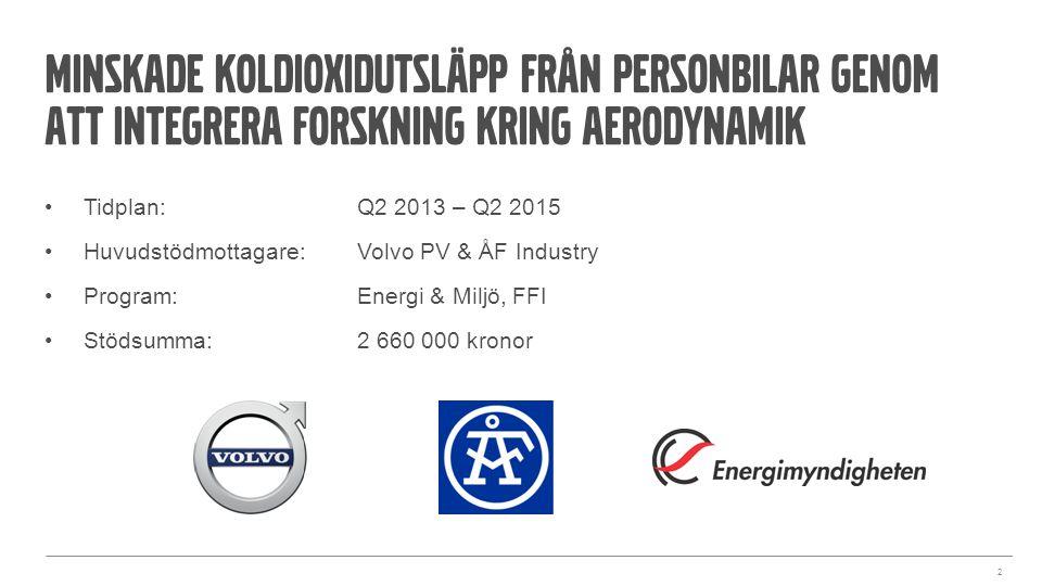 Minskade koldioxidutsläpp från personbilar genom att integrera forskning kring aerodynamik