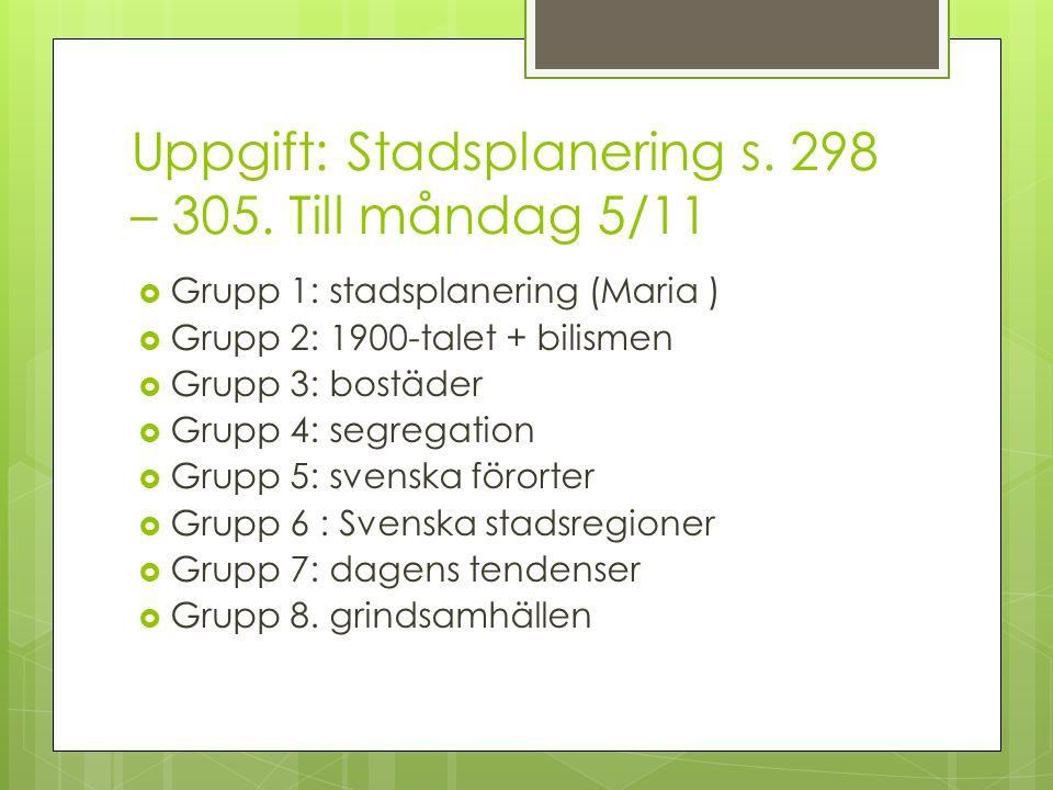 Uppgift: Stadsplanering s. 298 – 305. Till måndag 5/11