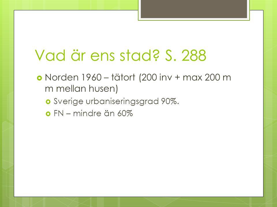 Vad är ens stad S. 288 Norden 1960 – tätort (200 inv + max 200 m m mellan husen) Sverige urbaniseringsgrad 90%.