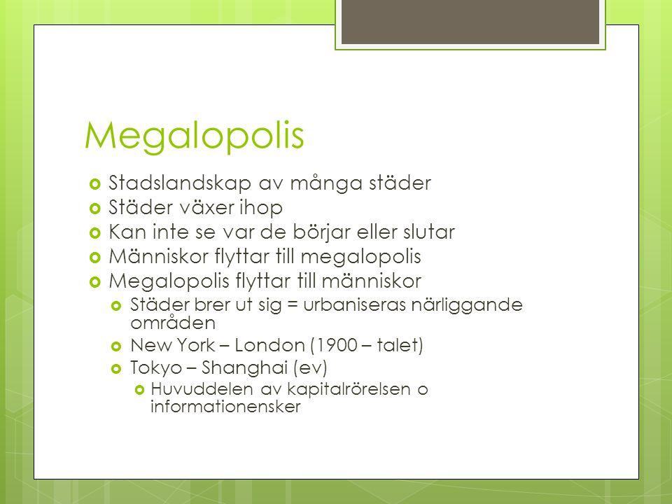 Megalopolis Stadslandskap av många städer Städer växer ihop