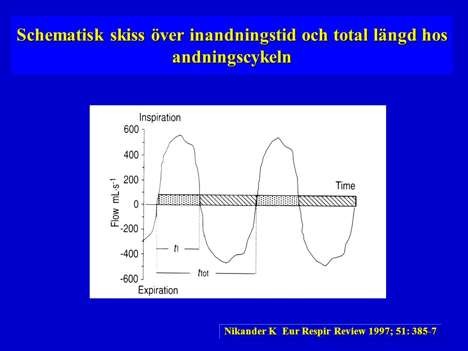 Schematisk skiss över inandningstid och total längd hos andningscykeln