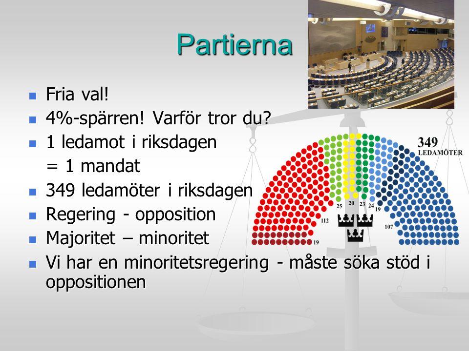 Partierna Fria val! 4%-spärren! Varför tror du 1 ledamot i riksdagen