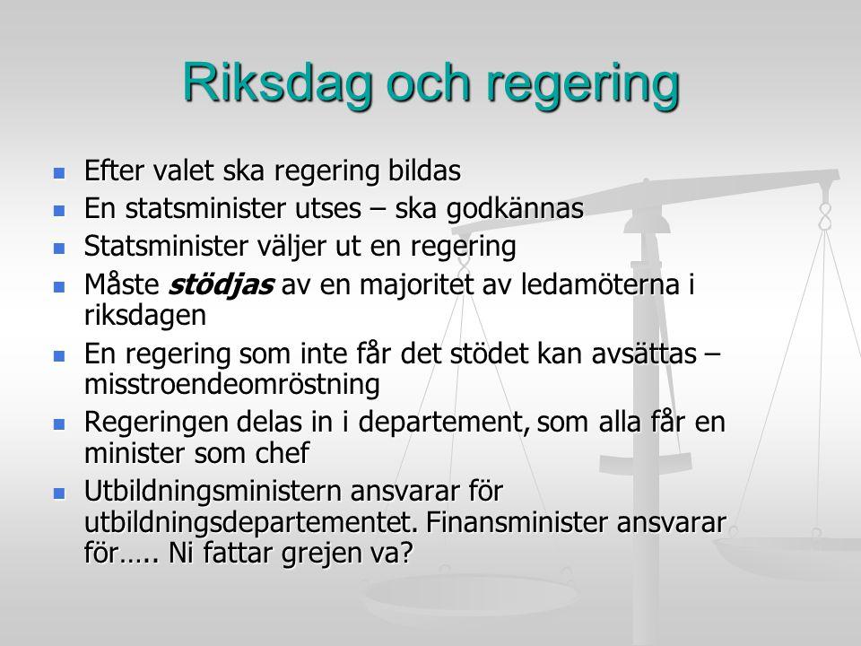 Riksdag och regering Efter valet ska regering bildas