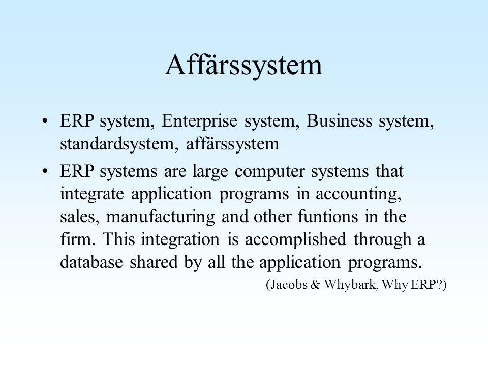 Affärssystem ERP system, Enterprise system, Business system, standardsystem, affärssystem.