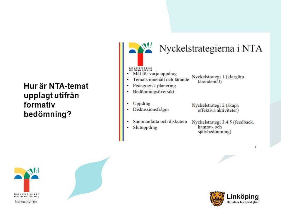 Hur är NTA-temat upplagt utifrån formativ bedömning