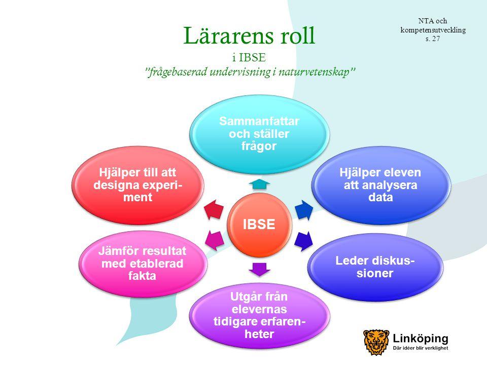 Lärarens roll IBSE i IBSE frågebaserad undervisning i naturvetenskap