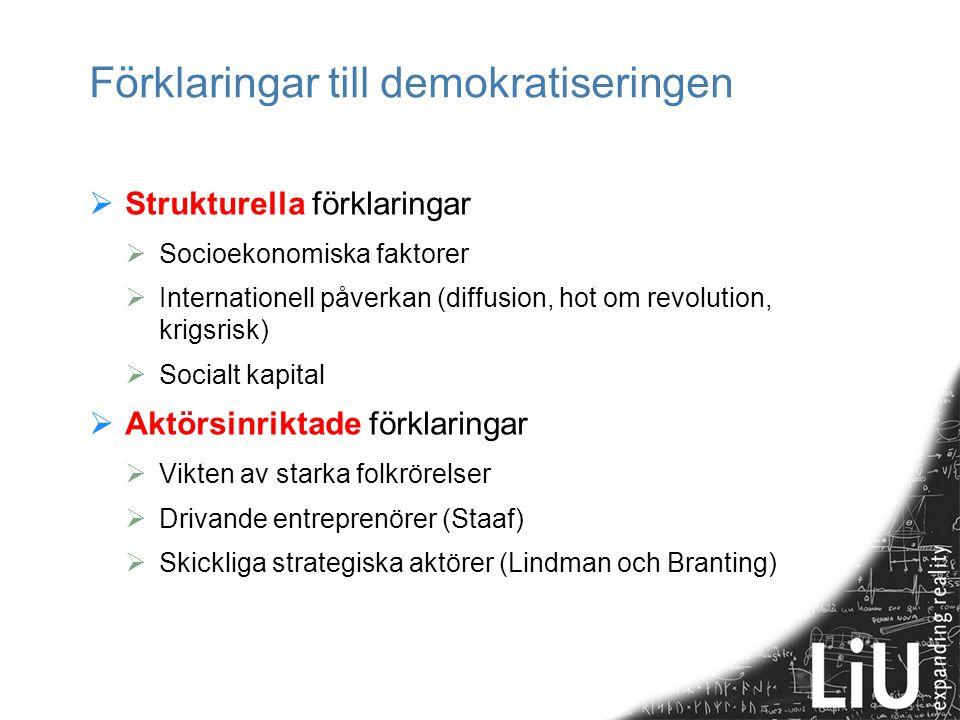 Förklaringar till demokratiseringen