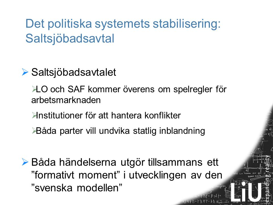 Det politiska systemets stabilisering: Saltsjöbadsavtal