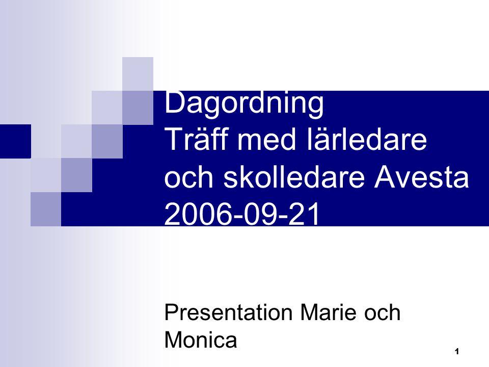 Dagordning Träff med lärledare och skolledare Avesta 2006-09-21