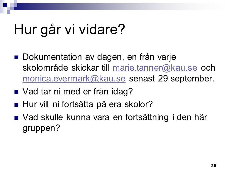 Hur går vi vidare Dokumentation av dagen, en från varje skolområde skickar till marie.tanner@kau.se och monica.evermark@kau.se senast 29 september.