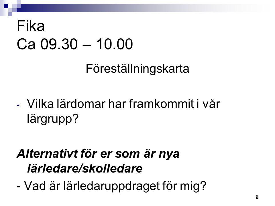 Fika Ca 09.30 – 10.00 Föreställningskarta