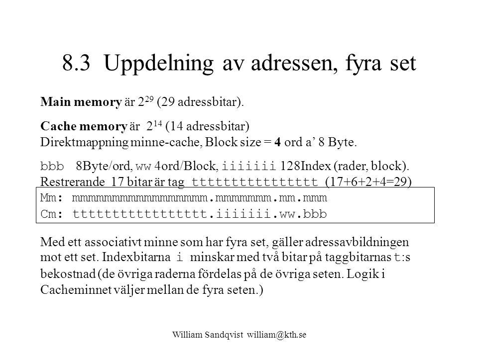 8.3 Uppdelning av adressen, fyra set