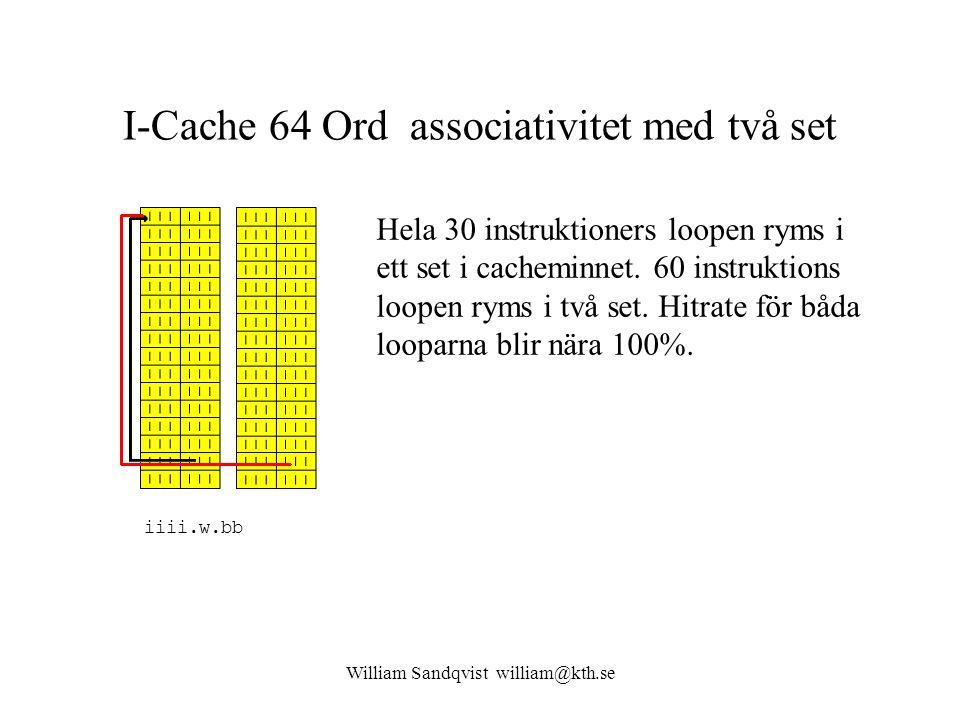 I-Cache 64 Ord associativitet med två set