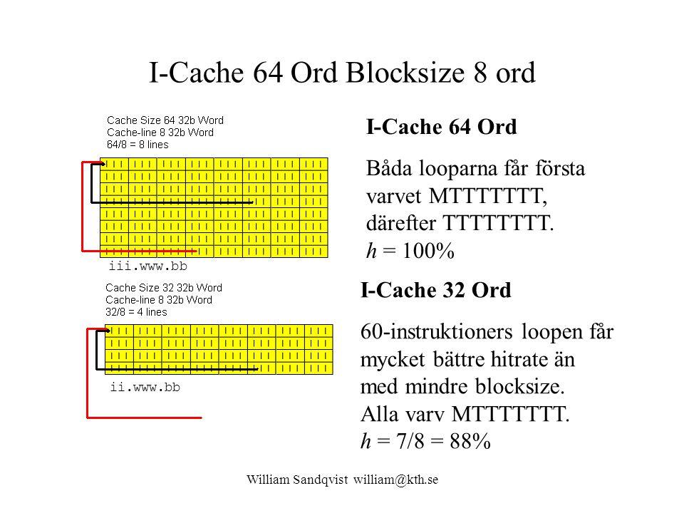I-Cache 64 Ord Blocksize 8 ord