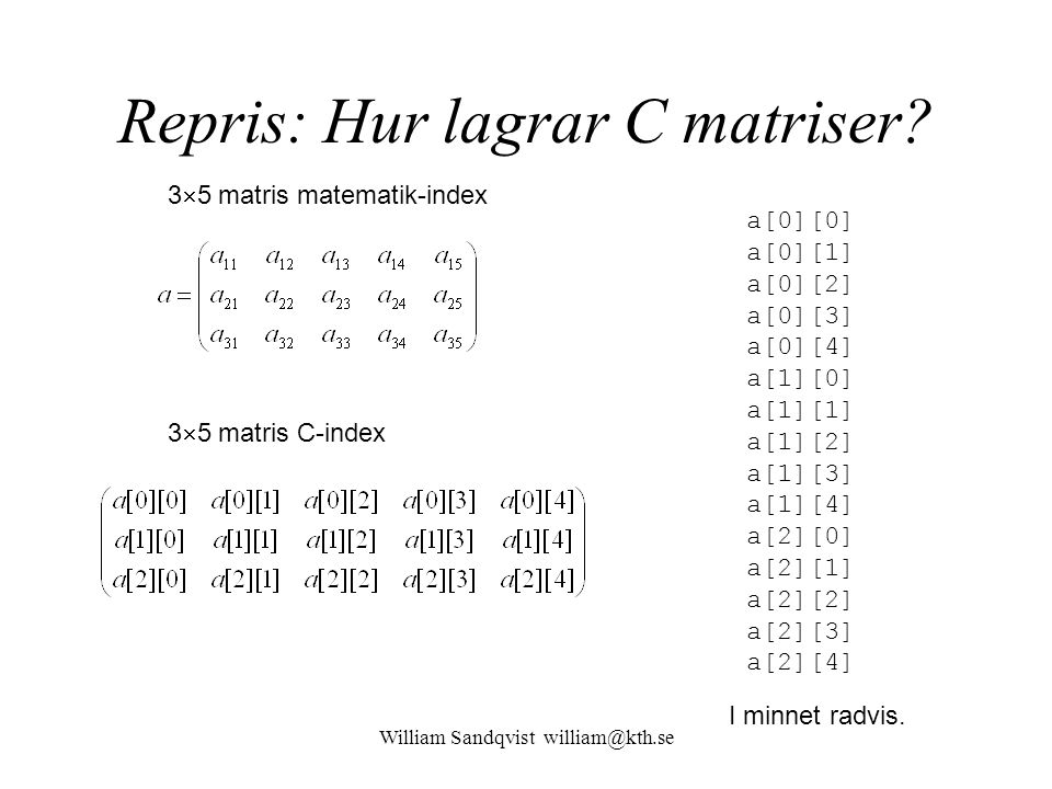 Repris: Hur lagrar C matriser