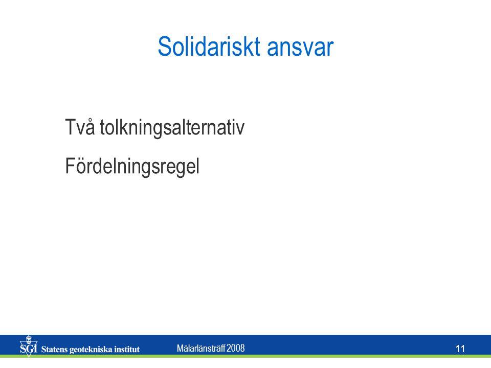 Solidariskt ansvar Två tolkningsalternativ Fördelningsregel
