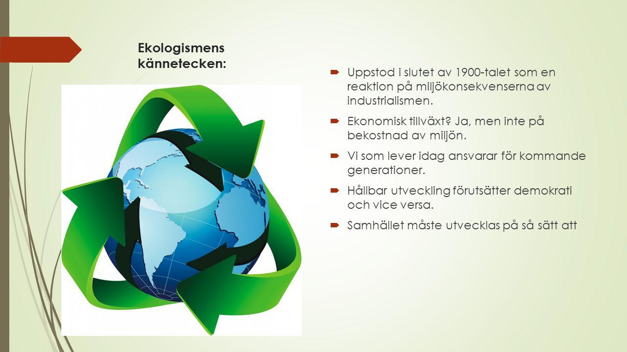 Ekologismens kännetecken: