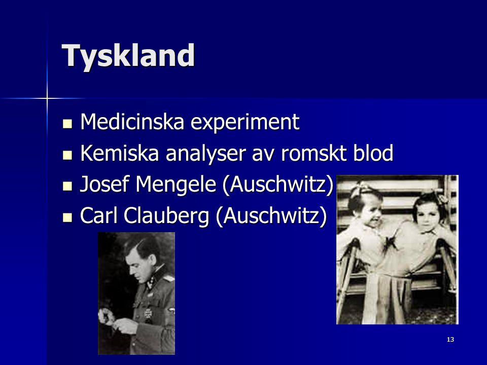 Tyskland Medicinska experiment Kemiska analyser av romskt blod