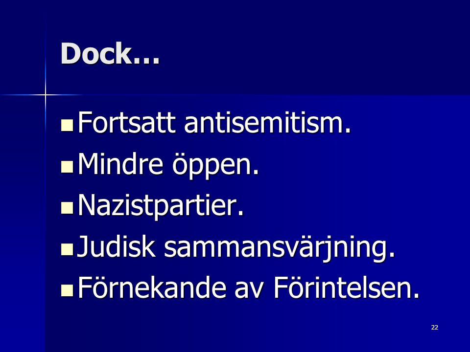 Dock… Fortsatt antisemitism. Mindre öppen. Nazistpartier.