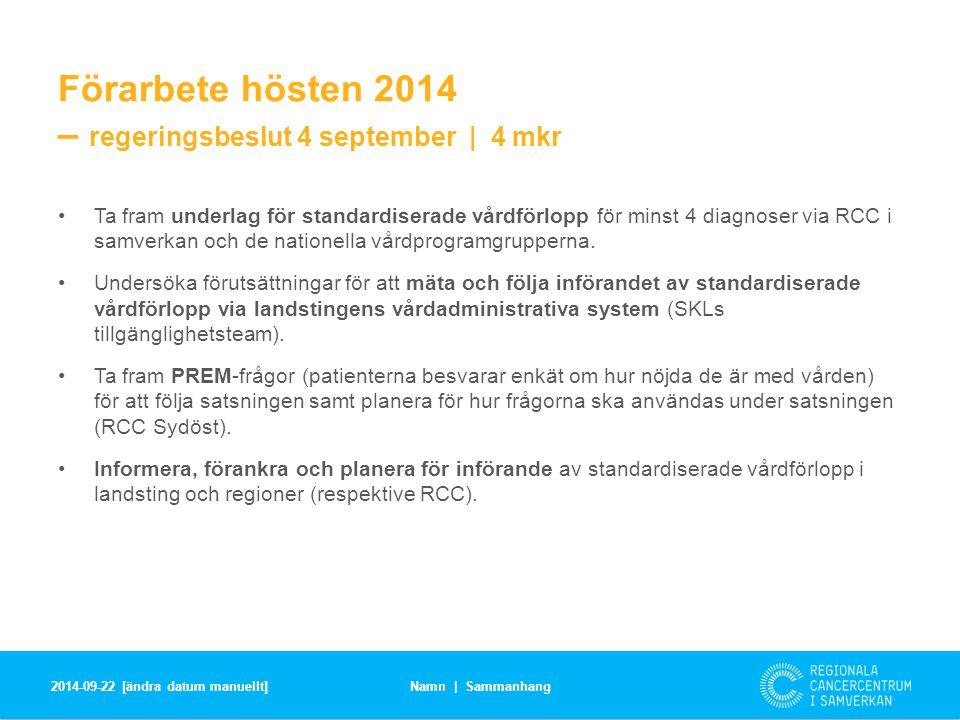 Förarbete hösten 2014 – regeringsbeslut 4 september | 4 mkr