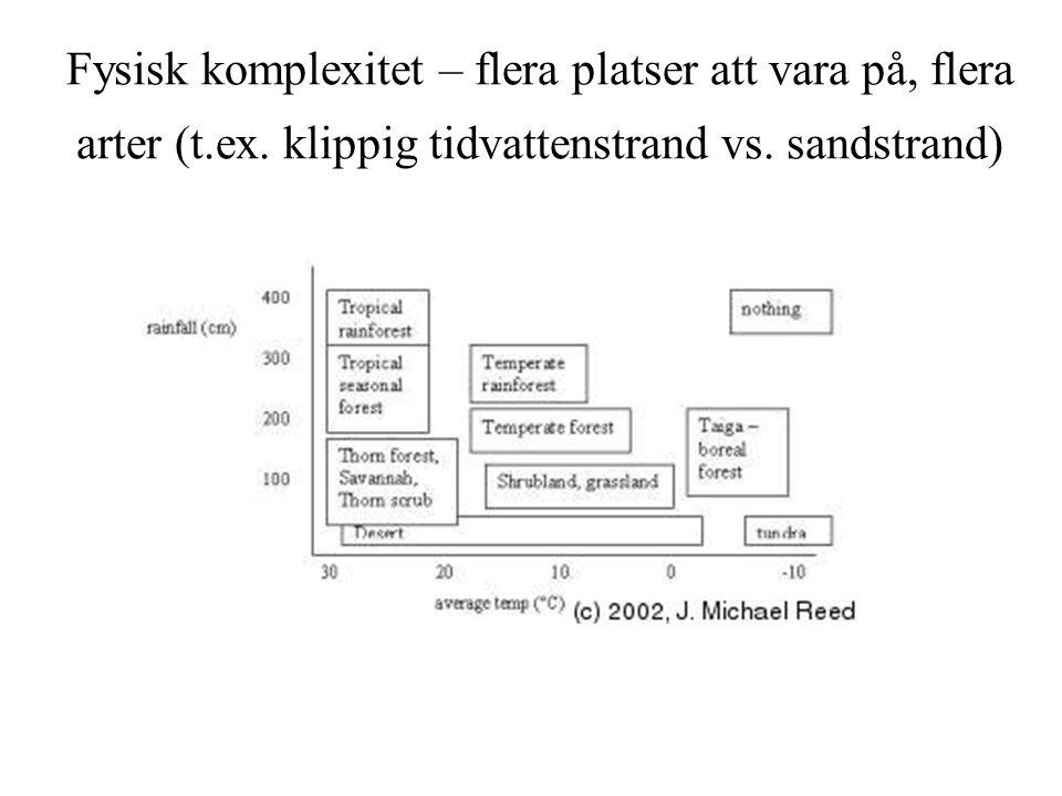 Fysisk komplexitet – flera platser att vara på, flera arter (t. ex