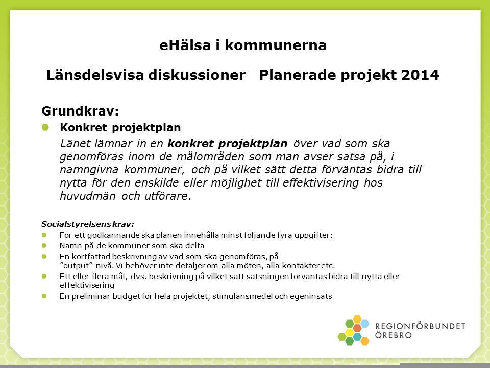 Länsdelsvisa diskussioner Planerade projekt 2014