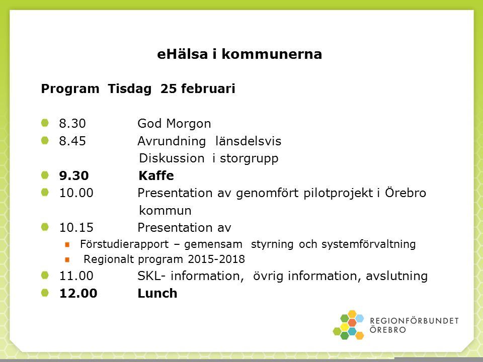 eHälsa i kommunerna Program Tisdag 25 februari 8.30 God Morgon