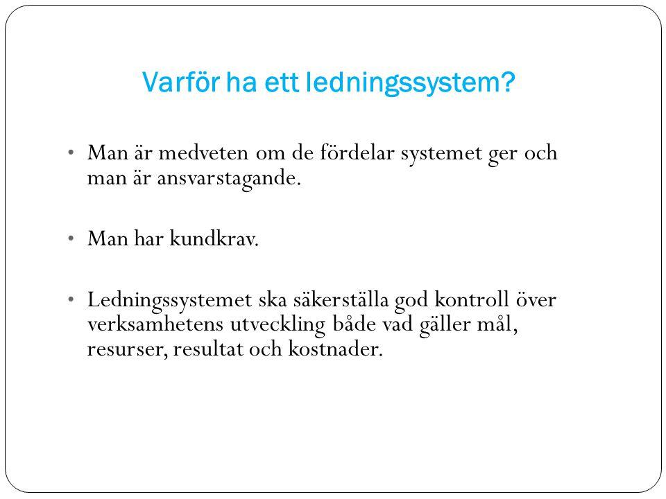 Varför ha ett ledningssystem