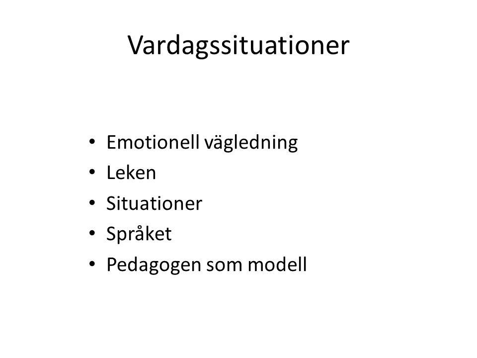 Vardagssituationer Emotionell vägledning Leken Situationer Språket