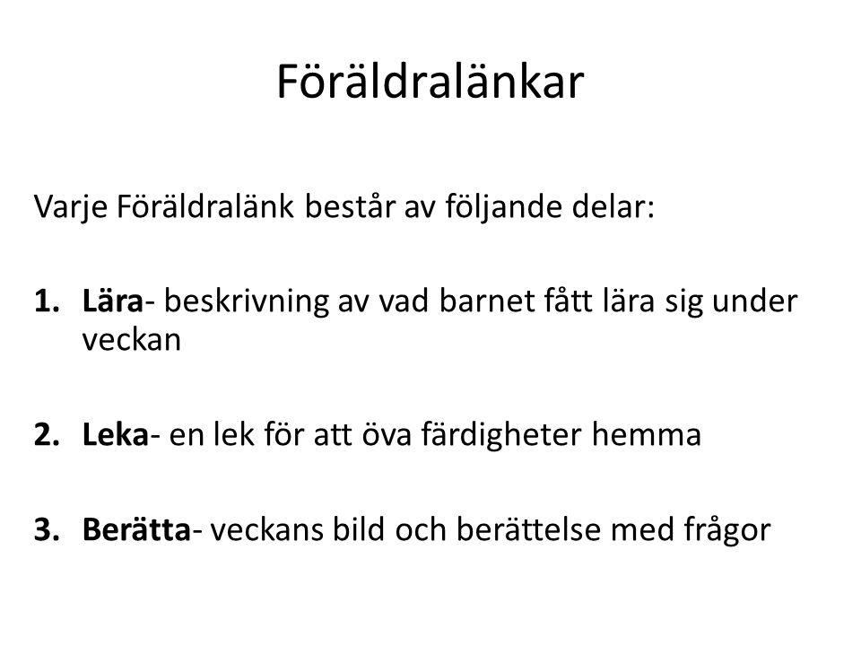 Föräldralänkar Varje Föräldralänk består av följande delar: