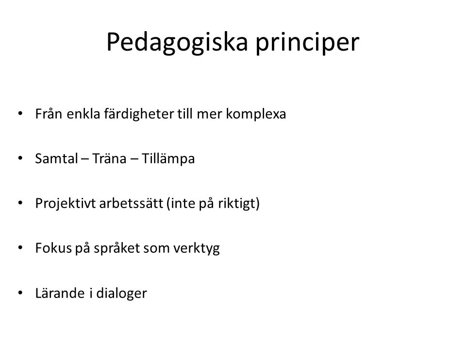 Pedagogiska principer