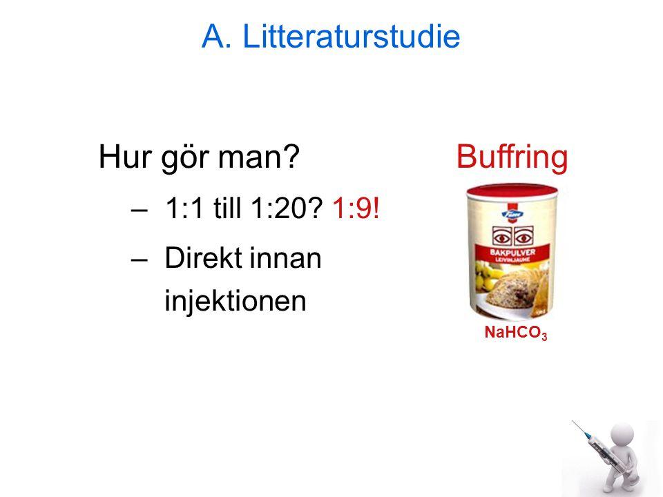 A. Litteraturstudie Hur gör man Buffring 1:1 till 1:20 1:9!