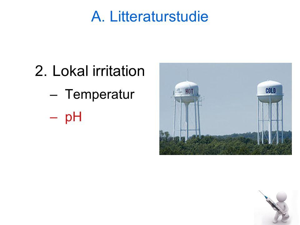 A. Litteraturstudie Lokal irritation Temperatur pH