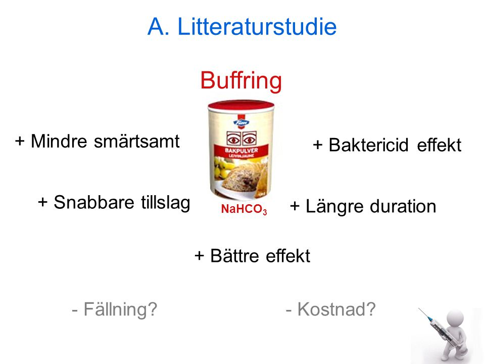 A. Litteraturstudie Buffring + Mindre smärtsamt + Baktericid effekt