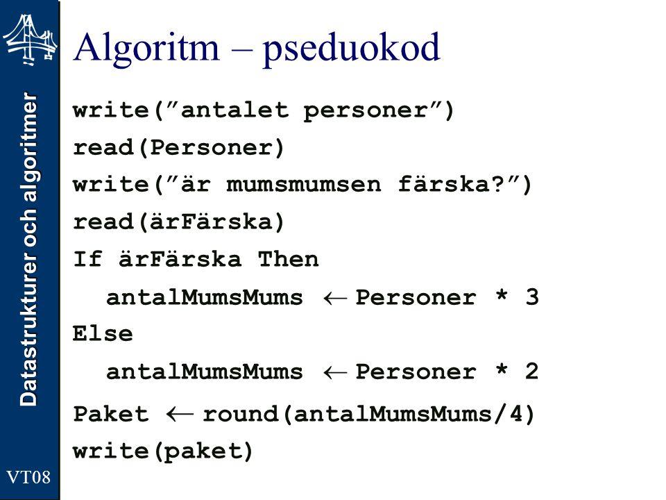 Algoritm – pseduokod write( antalet personer ) read(Personer)